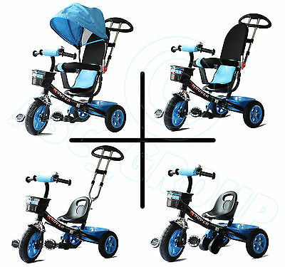 Childs 4 in 1 Trike - Blue & Black - Push along Pedal Kids Tricycle CE Approved