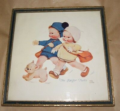 Vintage 30s The Jaeger Twins Framed Mabel Lucie Attwell