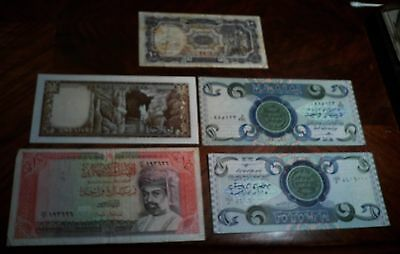 Lot Of 5 Middle Eastern Banknotes 1940 Egyptian 10 Piastreas, Oman 1994 1 Rial,