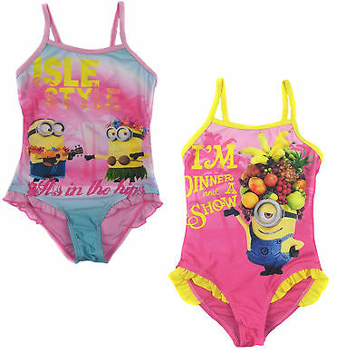GIRLS MINION DESPICABLE ME PINK YELLOW BLUE FRILL SWIMSUIT AGE 6-8 NEW