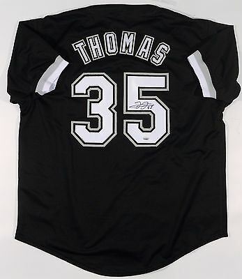 Frank Thomas Signed/autographed White Sox Custom Black Jersey Leaf Authenticated