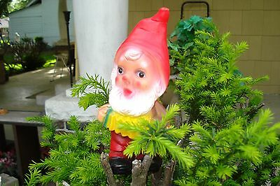 """Vintage Garden Gnome Playing Accordian~Hard Rubber~Signed """"r"""""""