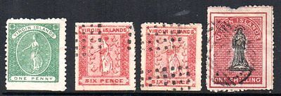 Virgin Islands: 1866-7 St. Ursula vals (4) used/unused with faults