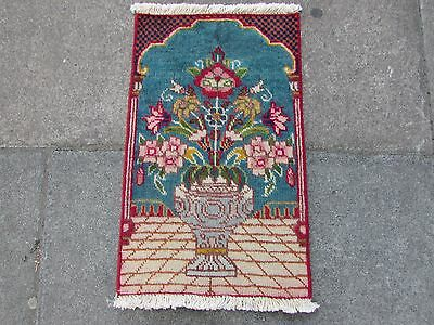 Old Hand Made Traditional Persian Rug Oriental Wool Blue Green Small Rug 70x40cm