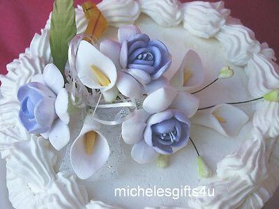 Gum Paste Sugar Lavender White Roses Calla Lilies Leaves & Ribbon Cake Flowers