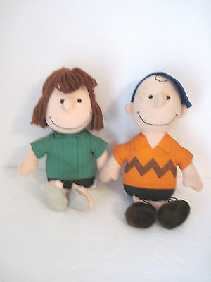 """Vintage Peanuts Characters PEPPERMINT PATTY & CHARLIE BROWN Stuffed - l3"""" Dolls"""