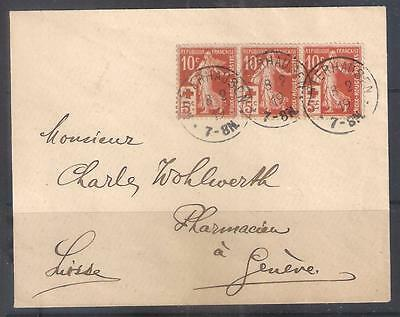 14148 FRANCE 1919 cover to Switzerland with Strip  x 5c Red Cross stamps