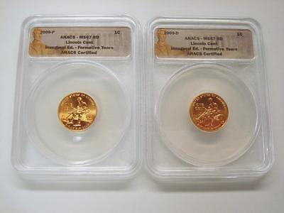 (Set Of 2) 2009 P & D Lincoln Cents - Inaugural Edition - Anacs Ms67 Red