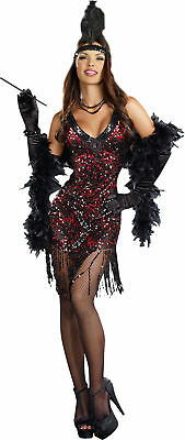 Adult Womens Dames Like Us Sexy 20S Flapper Dress Costume Black Red Halloween