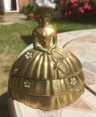 """VINTAGE ANTIQUE BRASS  LADY BELL ORNAMENT 95mm HIGH -MARKED """"MADE IN ENGLAND"""""""