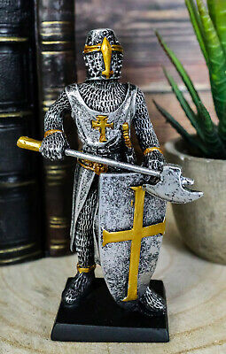 """Medieval Knight Crusader Axeman Dollhouse Miniature Figurine 4"""" H Suit of Armor"""