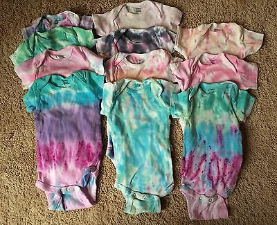 11 Gerber Onesies Homemade Tie Dyed Unisex Baby Infant Boy Girl Sz 3-9 mos