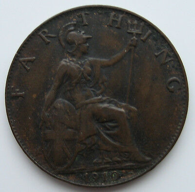 Collectable example of a 1910 Edward V11 Farthing.