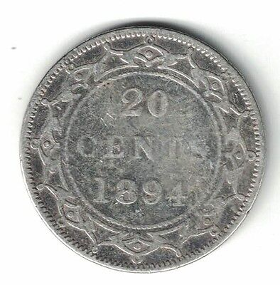Newfoundland 1894 20 Cents Queen Victoria Sterling Silver Canadian Coin
