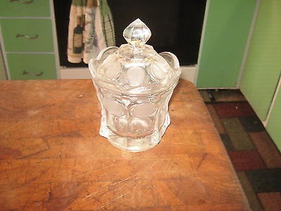 FOSTORIA Clear Coin Glass Covered Candy Jar Dish