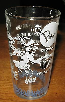 "1940-50'S ""PETER PIPER"" NURSERY RYHME GLASS w/COMICAL GRAPHICS GREAT CONDITION!"