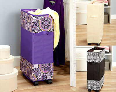 Rolling Laundry Bag on Wheels Holder Cart Portable Hamper Basket Cleaning