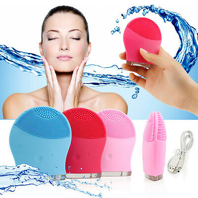 Soft Silicone Facial Cleansing Brush Super Electric Skin face washing machine US
