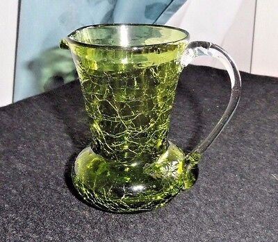 Vintage Hand Blown Art Glass Green Crackle Glass Mini Pitcher with Clear Handle