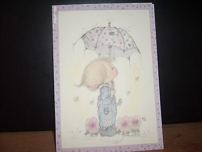 (4) BETSEY CLARK postcards Girl w Umbrella VINTAGE Use-able...