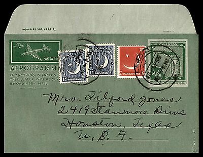 Pakistan uprated 6 rate aerogramme air letter cover to Houston Texas
