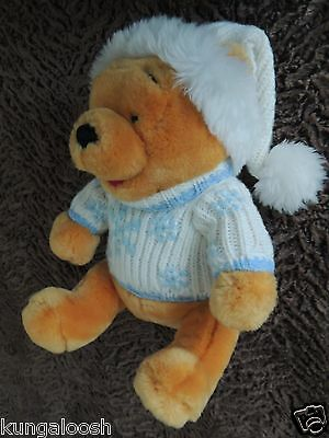 Disney Store Exclusive Winnie the Pooh Bear in winter sweater & hat Plush Toy