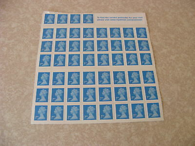 GENUINE UK POSTAGE STAMPS 50 X 2nd CLASS. BRAND NEW ON SHEET FREE POSTAGE