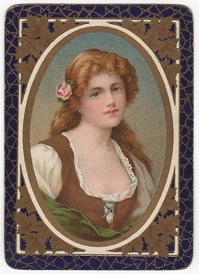 Playing Cards 1 Single Swap Card - Old English Antique Wide REDHEAD GIRL LADY