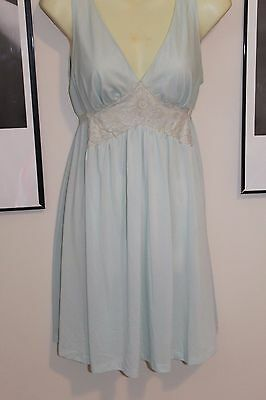 Vintage Evette Babydoll Nightie Nightgown Lt Blue Nylon Chiffon 1960s