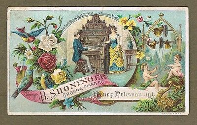 B Shoninger Organ & Piano Co New Haven Conn 1880`s Trade Card