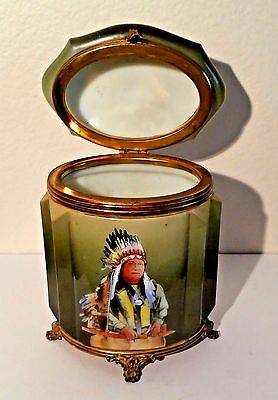 RARE Wave Crest Glass Footed Cigar Humidor Hand Painted Native American Chief