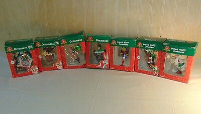 Lot of 7 Looney Tunes Collectable Holiday Christmas Ornaments Trevco/Matrix
