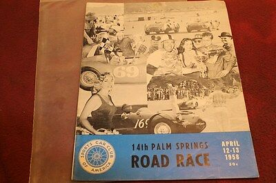 Rare 1958 Palm Spring Road Race Program Sports Car Club Of America Auto Racing *