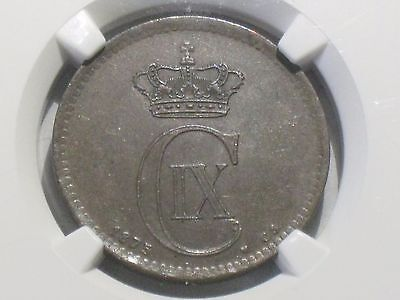 Denmark 5 Ore, 1875 NGC GRADED at AU-58