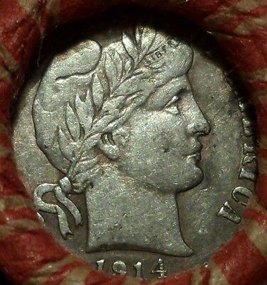 Estate Mixed Cent Roll with silver VF-XF 1914 Barber Dime / 1883 Indian Cent p1