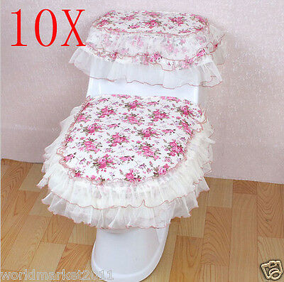 10X Lovely Practical Dark Pink Fabric Size 39*45 CM Three-Piece Toilet Covers