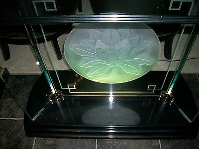Vintage RARE Art Deco Lalique Like Frosted Glass Embossed  Console Table Lighted