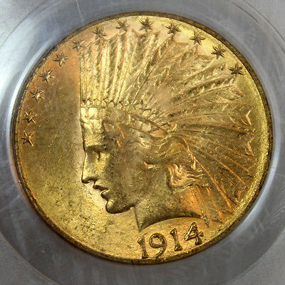 1914-S $10 Indian Head Ten Dollar Gold Eagle Pcgs Ms62