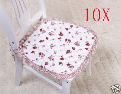 10X Pastoral Style Red Flowery 45 * 45 CM Cotton Practical Chair Pads Mats