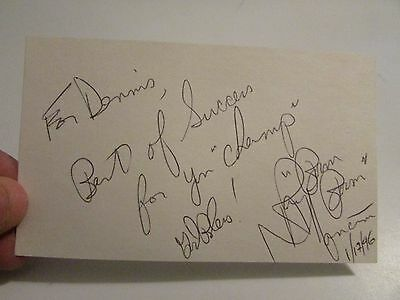 Vintage Authentic Autograph signed index card Boxer Ray Boom Boom Mancini