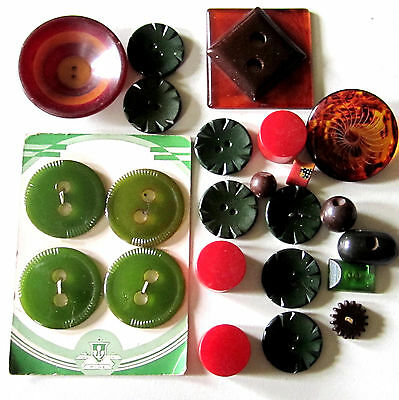 Antique Bakelite Button Lot All Size & Color 2 In To 1/2 Inch Red, Green, Swirl