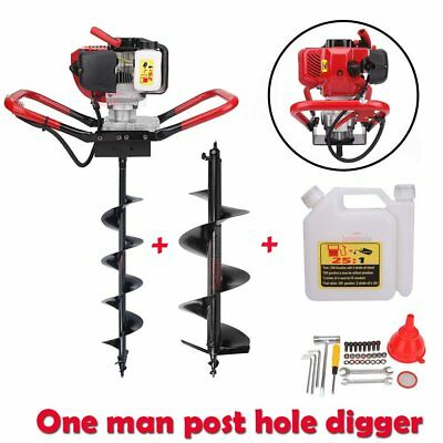 "1700W Gas Power Post Hole Digger w/ 6"" 10"" Auger Bits Fence Soil Ground Drill"