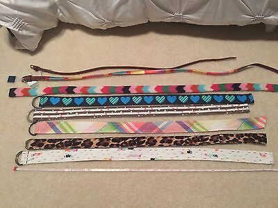 Girls Gap 8 belts fit about 8 10 12 1 nwt embroidered leopard rainbow hearts  *