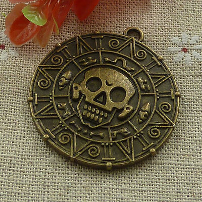 Free Ship 28 pieces Antique bronze The pirate coin pendant 44x40mm #1272