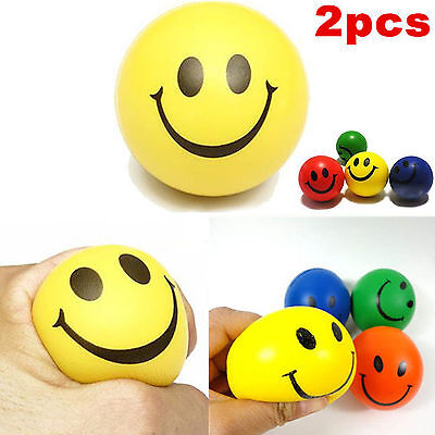 2*Reliever balls  Anti Stress anxiety toy ADHD Autism Mood Squeeze Smiley Face