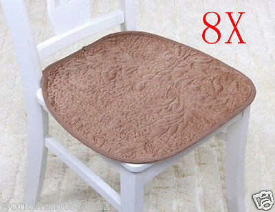 8X European Brown 45 * 45 CM Ultra-Soft Short Plush Practical Chair Mats