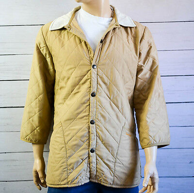 BARBOUR ESKDALE Mens Quilted Jacket Coat Casual Outdoor Beige Size Large