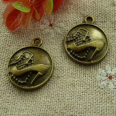 free ship 160 pcs Antique bronze high-heeled shoes charms 22x18mm #2829
