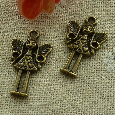 free ship 260 pcs Antique bronze angel charms 25x15mm #2846