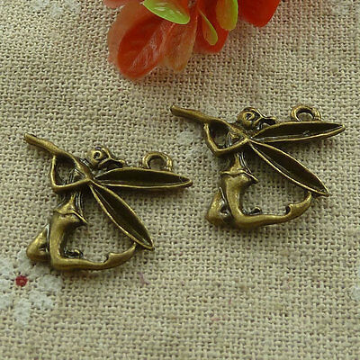 free ship 200 pcs Antique bronze angel charms 27x23mm #2900